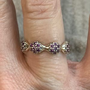 Pandora 8-Pod Pave Ring with Violet Zirconia